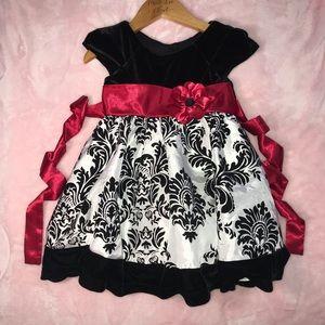 2T Jonna Michelle Black Velvet Red Sash Dress